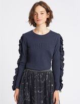 Marks and Spencer Pure Cotton Embossed Long Sleeve T-Shirt