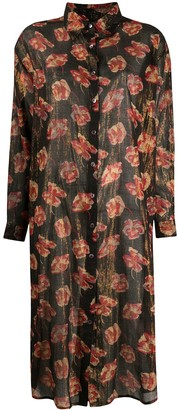 Mes Demoiselles Metallic Floral Print Dress