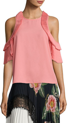 DELFI Collective Everly Pleated Cold-Shoulder Top