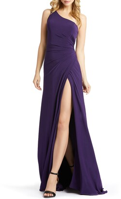 Mac Duggal One-Shoulder Jersey A-Line Gown