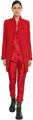 Ann Demeulemeester Short Virgin Wool Coat W/Jacquard Detail