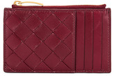 Bottega Veneta Leather Woven Long Card Case Wallet in Bordeaux & Gold | FWRD