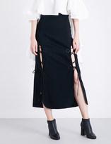Ellery The Blues lace-up crepe midi skirt