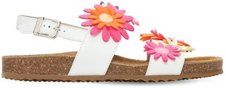 Il Gufo Leather Sandals W/Flowers