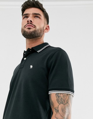 Abercrombie & Fitch icon logo tipped pique polo in black