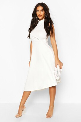 boohoo High Neck Asymmetric Midi Skater Dress