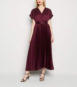 New Look Satin Belted Pleated Midi Dress