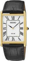 Seiko Mens Black Leather Strap Solar Watch SUP880