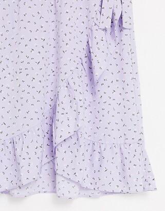 Monki Mary-lou wrap midi skirt in lilac floral print