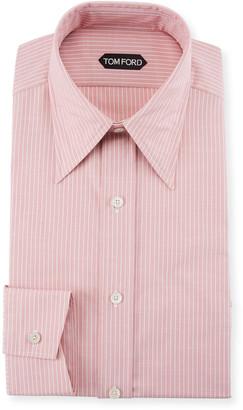 Tom Ford Men's Hopsack Striped Point-Collar Dress Shirt