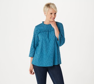Logo By Lori Goldstein LOGO by Lori Goldstein Eyelet Woven Blouse with Ruffle Detail