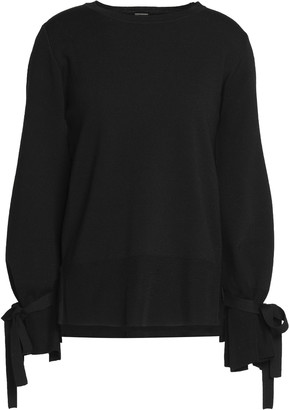 Adam Lippes Bow-detailed Knitted Wool Top