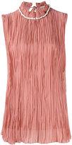 Nina Ricci pearled collar pleated detail top - women - Silk - 36