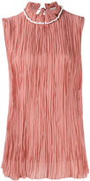 Nina Ricci pearled collar pleated detail top