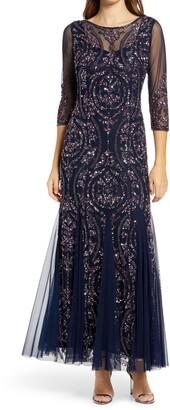 Pisarro Nights Sequin Beaded Illusion Gown