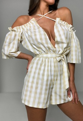 Missguided Stone Gingham Cold Shoulder Playsuit