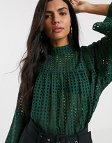 Asos Design DESIGN long sleeve smock top with high neck in grid check broderie