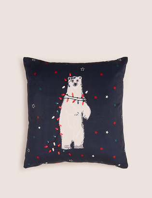 Marks and Spencer Velvet Polar Bear Small Christmas Cushion