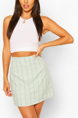 boohoo Pastel Check A Line Mini Skirt