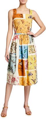 Oscar de la Renta Floral Patchwork Poplin Midi Dress