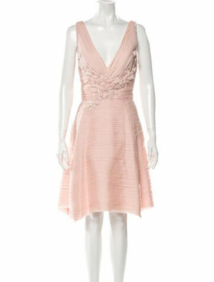 Marchesa Plunge Neckline Knee-Length Dress w/ Tags Pink