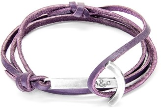 ANCHOR & CREW Unisex 925 Sterling Silver Purple Leather Clipper Bracelet