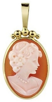 Del Gatto Young Lady w/Short Hair Cornelian Cameo Pendant/Brooch