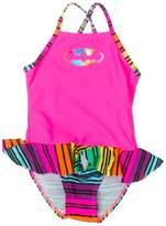 Ingear In Gear Little Girls One Piece Ruffle Bottom Batgirl Swimsuit Sizes12 Months to 3T