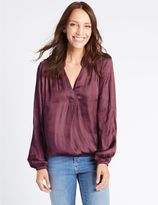 Marks and Spencer Popover Notch Neck Long Sleeve Blouse
