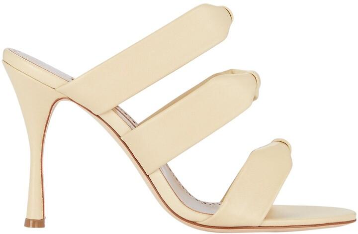 Manolo Blahnik Gyrica Leather Slide Sandals