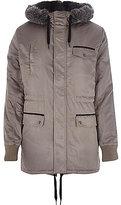 River Island MensGrey faux fur trimmed parka jacket