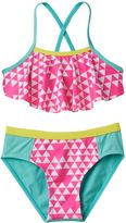 Pink Platinum Girls 4-6x Triangle Print Tankini & Scoop Bottoms Swimsuit Set