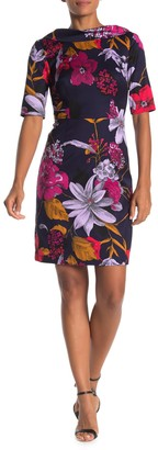 Trina Turk Soiree Elbow Sleeve Floral Print Dress