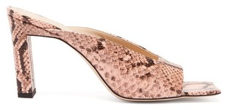 Wandler Isa Square Open-toe Python-effect Leather Mules - Pink