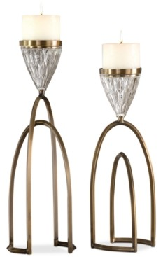 Uttermost Carma 2-Pc. Bronze-Finish & Glass Candle Holder Set