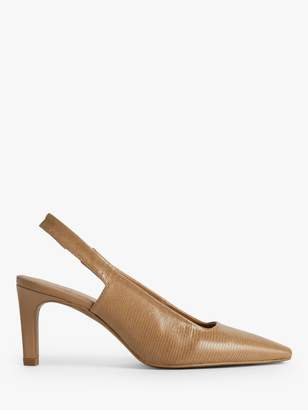 Jigsaw Jessy Leather Slingback Heels, Camel