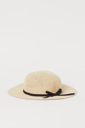 H&M Bow-detail Straw Hat - Beige