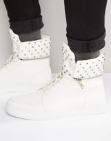 Asos High Top Sneakers In White With Stud Detailing