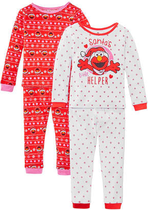 AME Toddler Girls 4-Pc. Cotton Santa Helper Elmo Pajamas Set