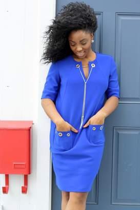 Joseph Ribkoff Short-Sleeve Blue Dress