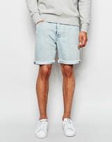 Levis Levi's Denim Shorts 501 Customized Tapered Oberon Light Vintage Wash Raw Edge Hem