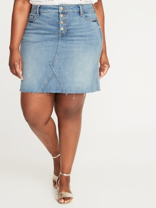 Old Navy High-Waisted Secret-Slim Pockets Button-Fly Plus-Size Jean Skirt