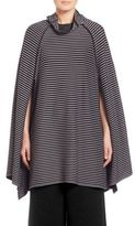 Issey Miyake Striped Knit Cowlneck Cape
