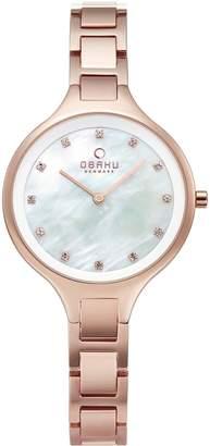 Obaku Iris Mother of Pearl Dial Rose Gold Stainless Steel Link Bracelet Ladies Watch