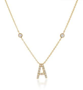 Ron Hami 14K Yellow Gold Diamond Initial Station Necklace - 0.09-0.11 ctw