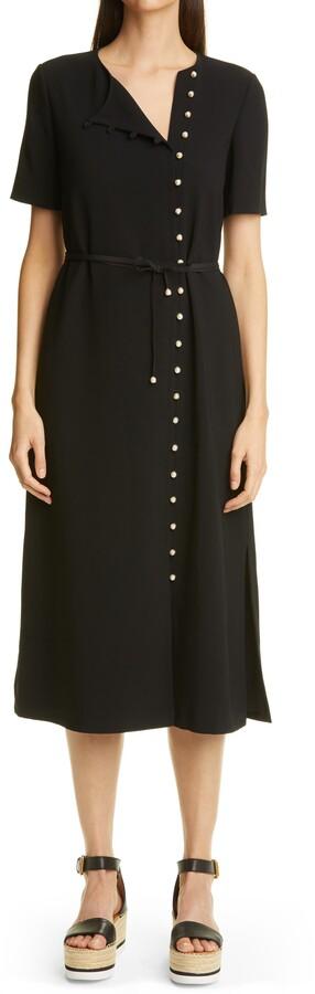 Altuzarra Picotee Button Front Crepe Midi Dress