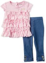 juicy couture (Infant Girls) 2-Piece Ruffle Top & Leggings Set