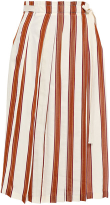 Tory Burch Pleated Striped Jacquard Midi Wrap Skirt