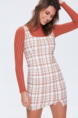 Forever 21 Plaid Bodycon Pinafore Dress