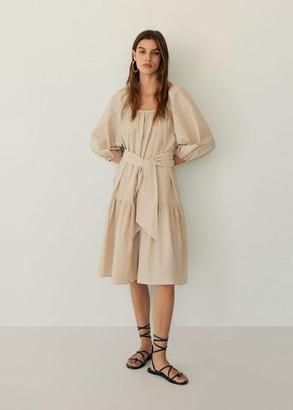 MANGO Puffed sleeves dress beige - 6 - Women